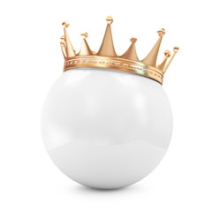 Golden Crown on White Ball isolated on white background