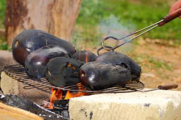 eggplants on campfire