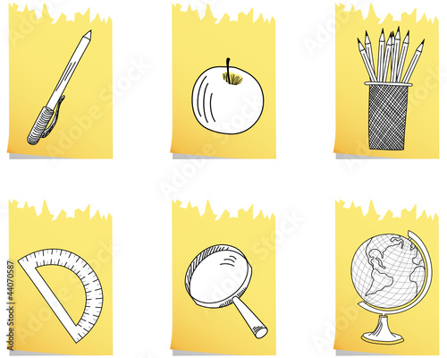 Set of educational school icon. Vector illustration.