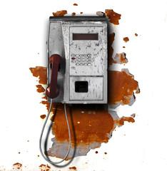 telefono pubblico contro parete ruggine