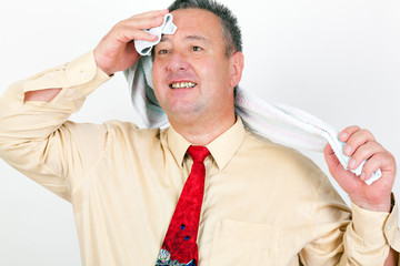 Businessman with towel