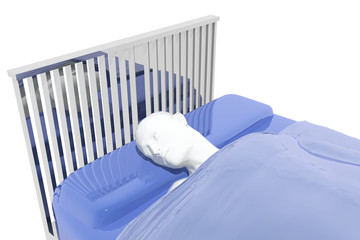 Persona enferma descansando en una camilla