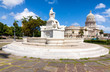 Old marble  fountain and the Capitol of Havana