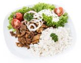 Plate with Kebab and Rice on white