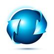 logo rond flèches bleu