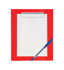 Clipboard with blank paper and pen isolated on white