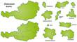 Österreich mit Kantonen in grün