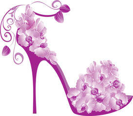 Shoes decorated with orchids