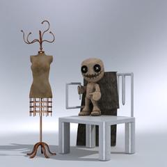 Stuhl, Kliederständer, Puppe