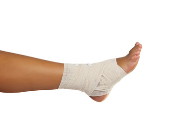 injured ankle with bandage