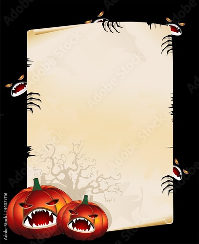 Halloween Pumpkins and Monsters on Vintage Poster-Vector