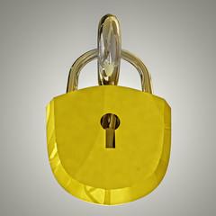 detail on gold metal padlock