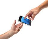 Two hands reaching smartphone