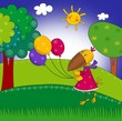 Little crow with balloons. Cartoon character