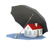 Umbrella covering the house