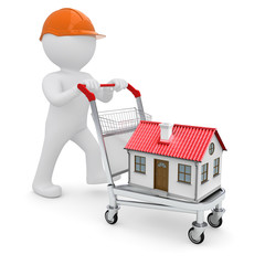 A white man in a helmet and a house on the trolley