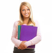 Happy Teenage High School Student Girl Isolated on White