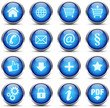 Button Icon Set Blau