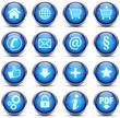 Button Icon Set Blau