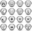 Button Icon Set Silber