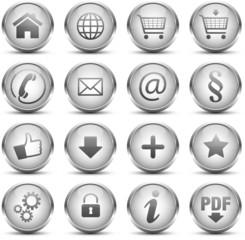 Button Icon Set Silber
