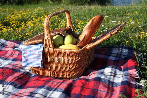 Picknickkorb auf einer Decke