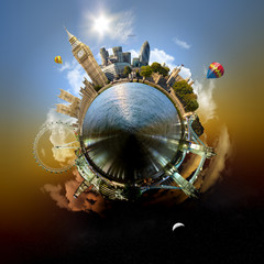 Miniature planet of London, with attracions of the city