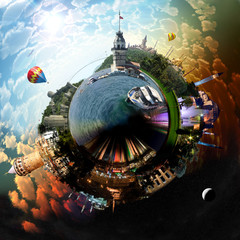 Miniature planet of Istanbul, with attracions of the city