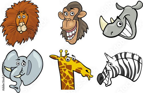 Cartoon wild animals heads set