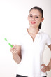 Young attractive girl with toothbrush smiling