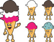 Various isolated ice cream cone characters