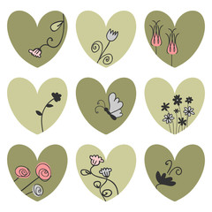 Set of hearts decorated with flowers