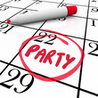 Party Word Circled Calendar Day Word Reminder