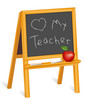 Love My Teacher, childs blackboard easel, apple, chalk