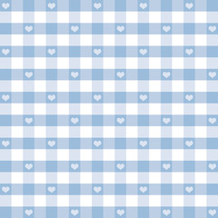Seamless Gingham and Hearts, pastel blue, EPS has pattern swatch
