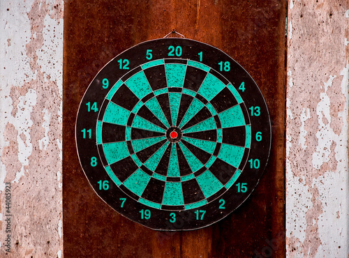 The Dartboard on wood background