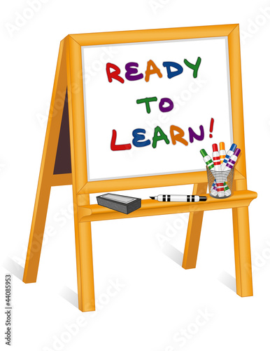 Ready to Learn, childs notice board easel, markers, eraser