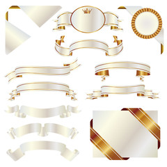 set of white and gold ribbon