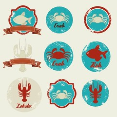 vintage labels seafood