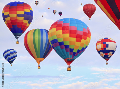 Multicolored hot air balloons flying - 44086591