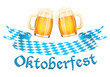 Oktoberfest banner with two beer mugs