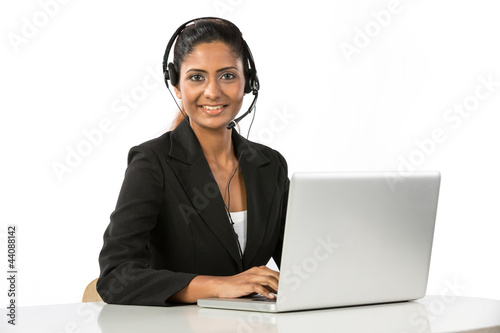Pretty Indian call centre employee.