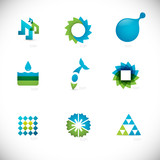 abstract design elements collection - blue & green