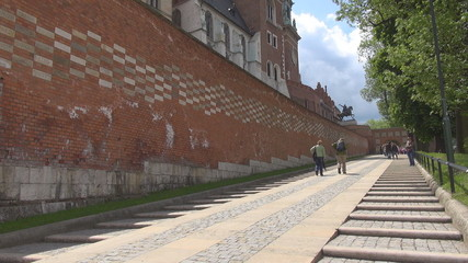People going to the Wawel Royal Castle Krakow, Poland