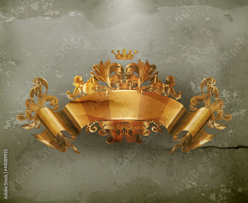 Vintage Emblem Gold Ribbon, old-style vector