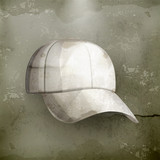 White baseball cap, old-style vector