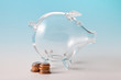 Glass piggy bank with coins