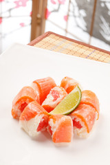 sushi with grapefruit in rice paper