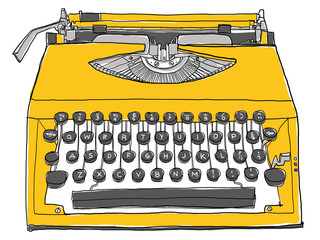 yellow typewriter vintage
