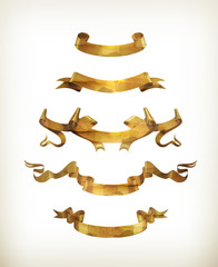 Gold ribbons, old-style vector isolated